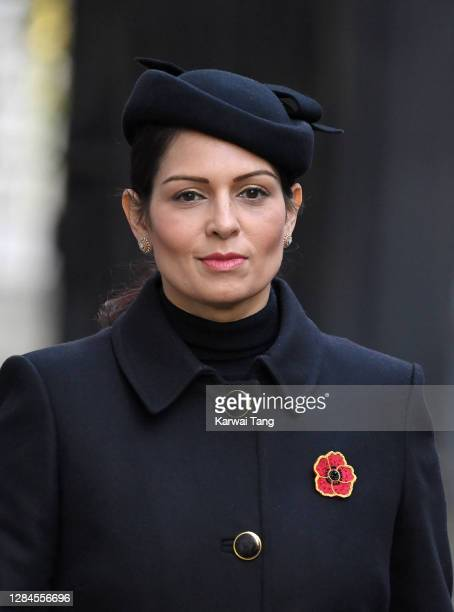 Priti Patel, Secretary of State for the Home Department attends the National Service of Remembrance at The Cenotaph on November 08, 2020 in London,...