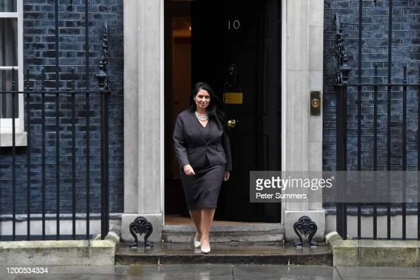 Priti Patel, Secretary of State for the Home Department leaves Downing Street on February 13, 2020 in London, England. The Prime Minister makes...