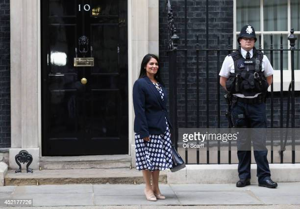 Priti Patel the new Exchequer Secretary at the Treasury departs Downing Street on July 15 2014 in London England British Prime Minister David Cameron...
