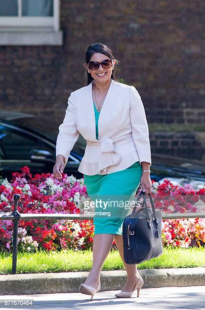 Priti Patel UK international development secretary arrives for a cabinet meeting at 10 Downing Street in London UK on Tuesday July 19 2016 Prime...