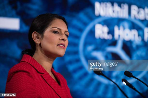Priti Patel UK international development secretary pauses during the Nigeria Capital Markets and Banking Forum in London UK on Friday Oct 27 2017 The...