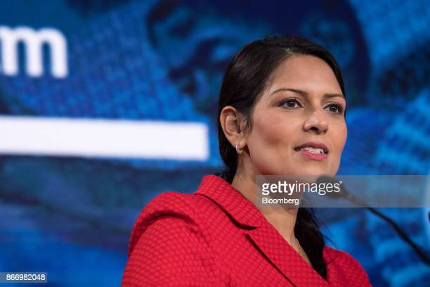 Priti Patel UK international development secretary speaks during the Nigeria Capital Markets and Banking Forum in London UK on Friday Oct 27 2017 The...