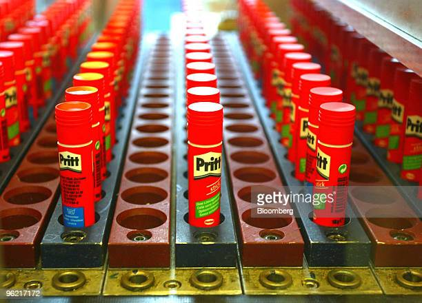 Pritt glue sticks made by Henkel at their production plant in Duesseldorf Germany Wednesday February 18 2004 Henkel KGaA the German maker of Duck...