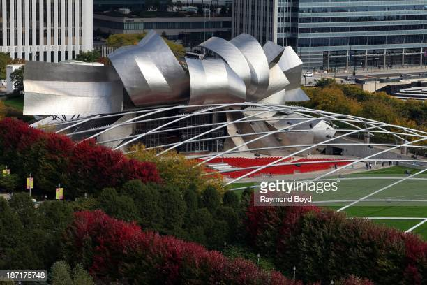 Pritzker Pavilion as photographed from the Cliff Dwellers Club atop the Borg Warner Building during the Chicago Architecture Foundation's Open House...