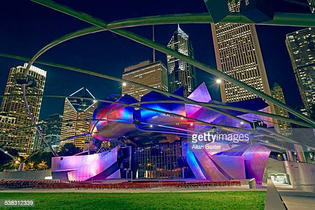 Pritzker Pavilion in Millennium Park at night