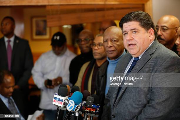 JB Pritzker speaks to the media as Illinois Secretary of State Jesse White and others look on Tuesday Feb 6 2018 at MacArthur's Restaurant in Chicago...