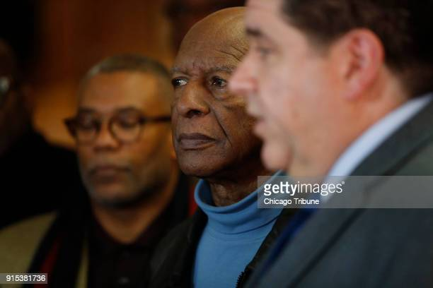 JB Pritzker speaks to the media as Illinois Secretary of State Jesse White center and others look on Tuesday Feb 6 2018 at MacArthur's Restaurant in...
