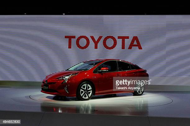 Prius is displayed at the Toyota booth during the media preview ahed of The 44th Tokyo Motor Show 2015 at Tokyo Big Sight on October 28 2015 in Tokyo...