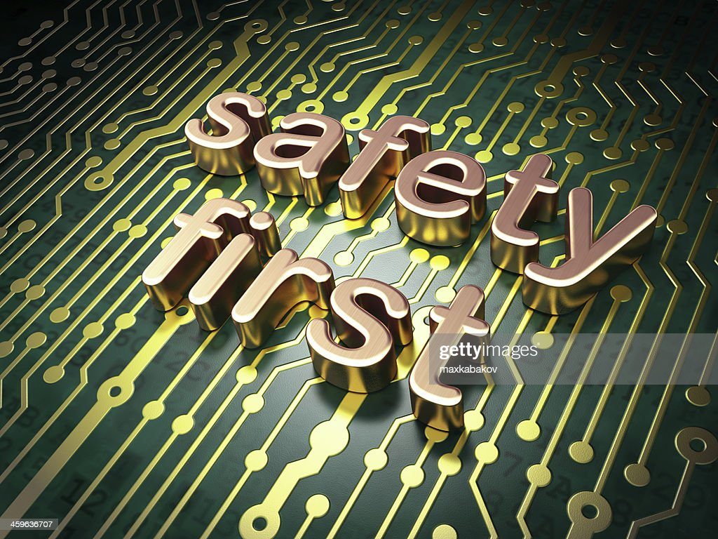 Privacy Concept Safety First On Circuit Board Background Stock Photo