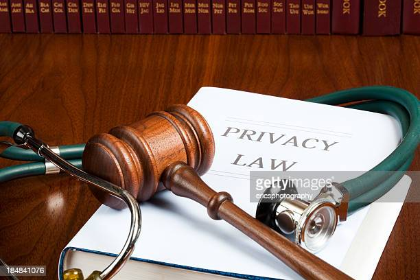 Privacy law stethoscope and gavel