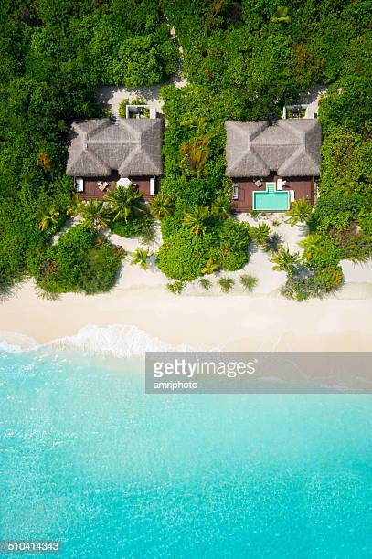 privacy on tropical paradise, aerial view