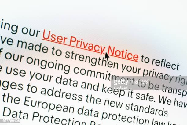 """""""privacy policy"""" information on computer screen - information sign stock pictures, royalty-free photos & images"""