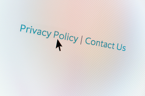Privacy Policy web button and mouse arrow on computer screen - gettyimageskorea