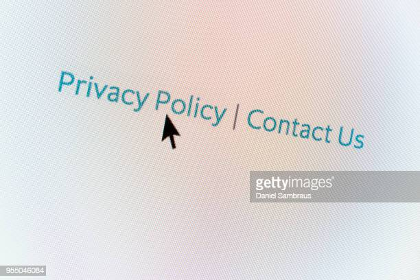Privacy Policy web button and mouse arrow on computer screen