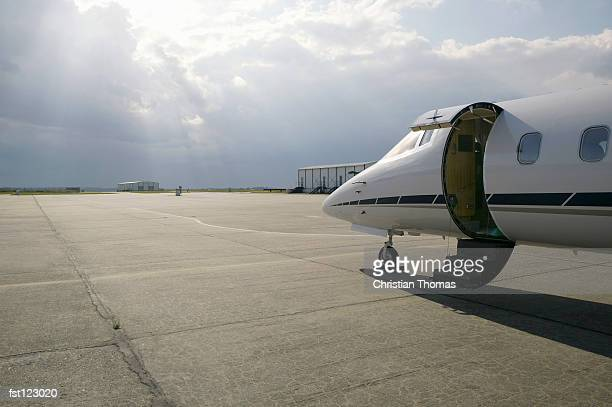 Private airplane on runway