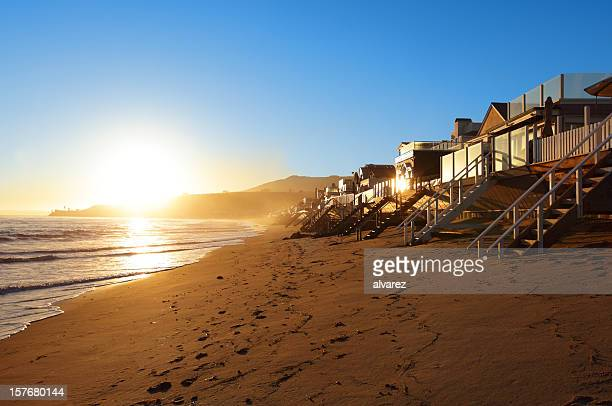 private beach in malibu - malibu stock pictures, royalty-free photos & images