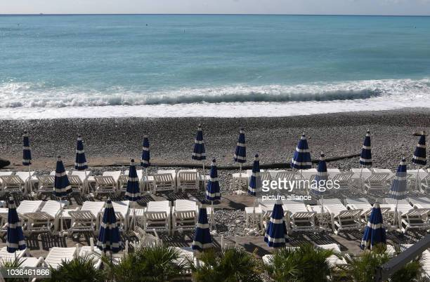 A private beach on the beach promenade 'Promenade des Anglais' in Nice France 14 September 2016 Photo Ina Fassbender/dpa | usage worldwide
