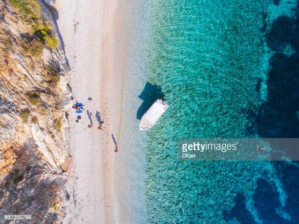 private beach - thasos stock photos and pictures