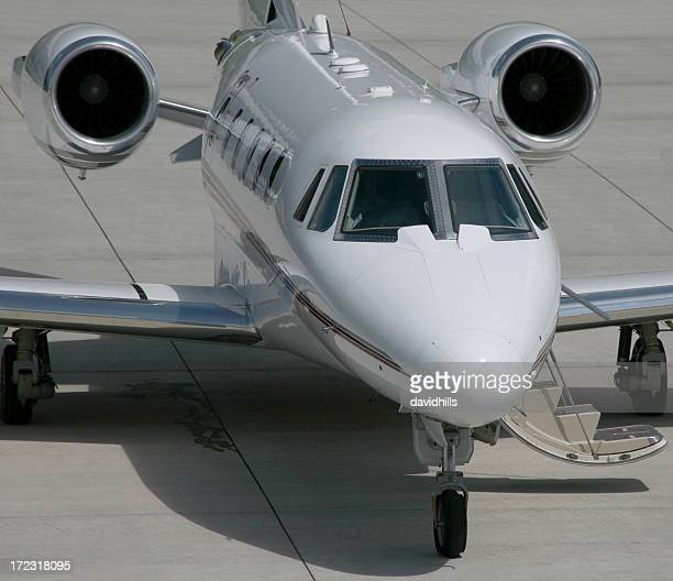 Private business jet for first class travel on tarmac