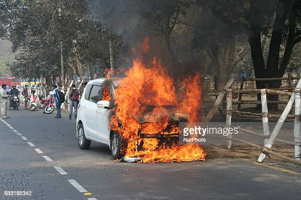 A private car burn on the road accident on January 312017 in KolkataIndia