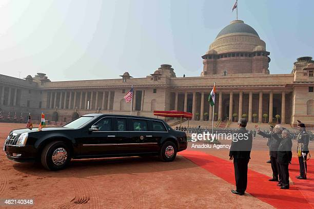 Private car of US President Barack Obama arrives at Rashtrapati Bhavan, the Presidential Palace, in New Delhi on January 25, 2015. US President...