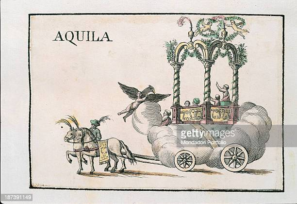 Private collection All Wheeled allegorical float of Eagle Contrada consisting in a big white cloud surmounted by solomonic columns and two puttos It...