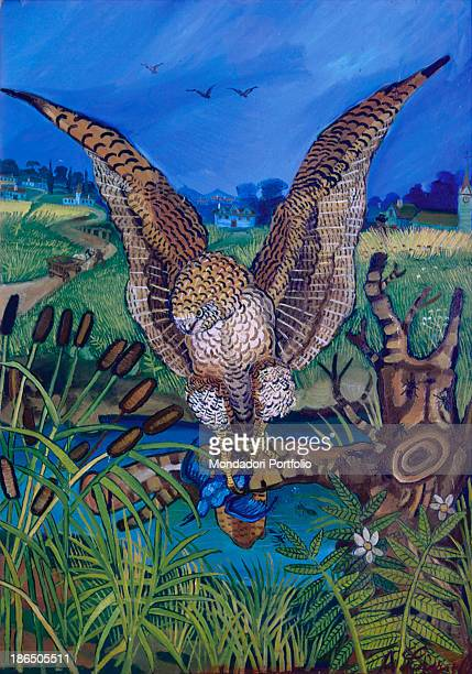 Private collection, Whole artwork view, A majestic harrier hawk with outstretched wings is portrayed with a blue bird in its claws, In the background...