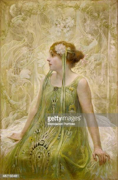 Private collection Whole artwork view A young girl sits in profile elegantly dressed in green clothes with ribbons in her hair