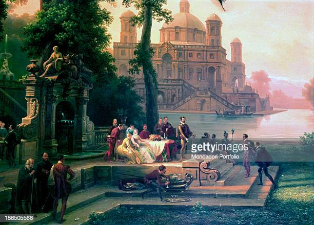 Private collection Whole artwork view Emanuele Filiberto meets Torquato Tasso in the garden of the Ester Palace in Turin where the writer was staying...