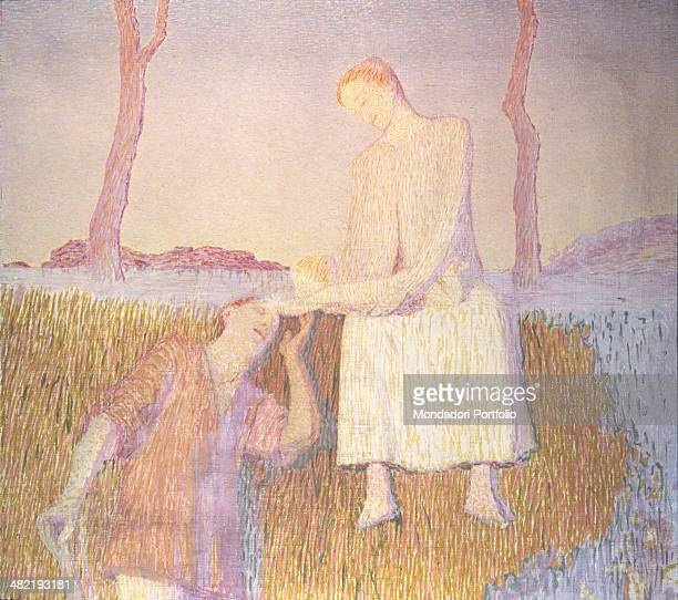 Private collection Whole artwork view Father and mother with their newborn baby in a meadow on a riverbank