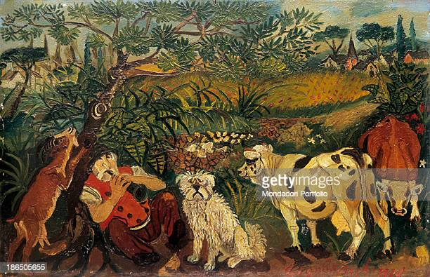 Private collection, Whole artwork view, In a lush greenery a shepherd rests playing a clarinet, With him a dog, two cows and a goat, In the...