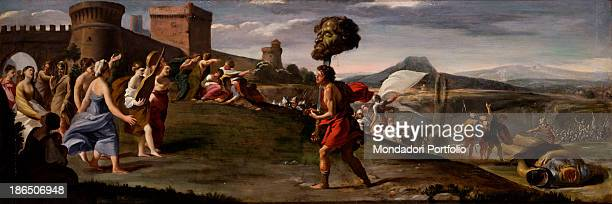 Private collection Whole artwork view In the center David goes up the hill to the city carrying the head of Goliath on the right the body of the...