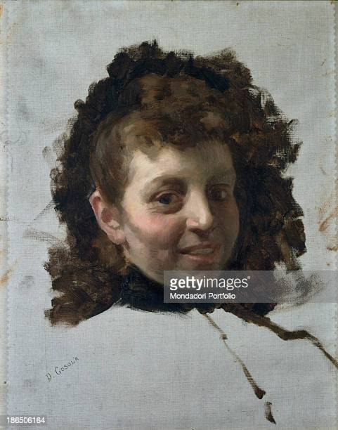 Private collection, Whole artwork view, In the central part of the white canvas the face of a woman appears smiling with gathered-up hair.