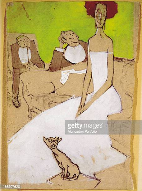 Private collection Whole artwork view In the foreground a red haired woman wearing a white dress is sitting on a sofa with a cat at her feet in the...