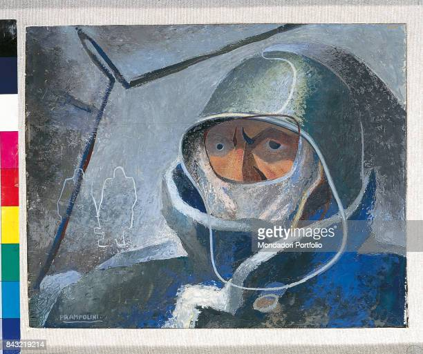 Private Collection Whole artwork view Italian poet and founder of the Futurist movement Filippo Tommaso Marinetti driving an airplane during the...