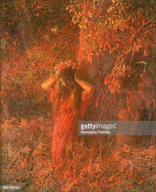 Private collection Whole artwork view Painting on different shades of red A girl in a wood wears a flower crown