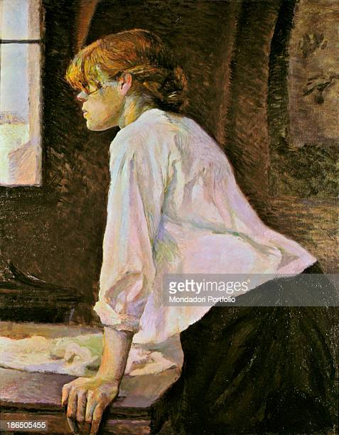 Private collection Whole artwork view Profile portrait indoors of a young laundress with a white shirt black skirt and a red hair The girl leaning...