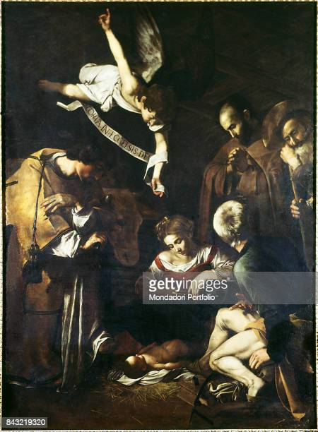 Private Collection Whole artwork view Saint Lawrence and Saint Francis of Assisi visiting the Holy Family after Jesus' birth The painting has been...