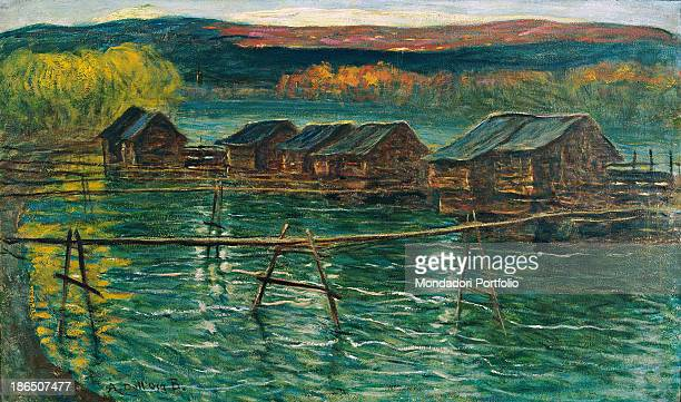 Private collection Whole artwork view Seven mills on a stretch of water