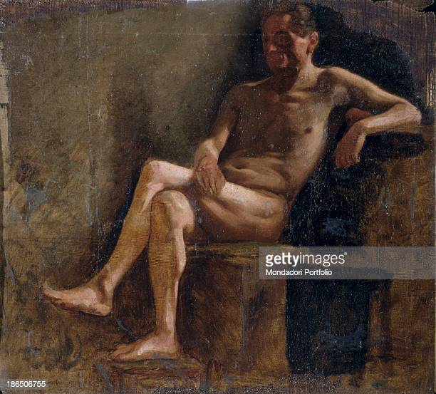 Private collection Whole artwork view Study of a nude man sitting retro of 'Figure of a Young Boy'