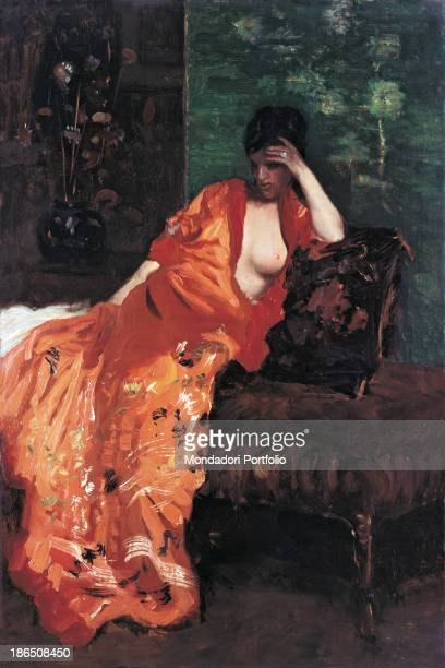 Private collection Whole artwork view The young woman wearing a long orange dress with an open breast while her face held by the hand is dark and...