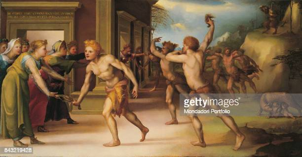 Private Collection Whole artwork view Young priests wearing only goatskins celebrating the Lupercalia to honour the god Faunus
