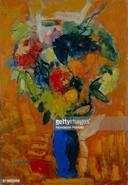 Private CollectionColoured flowers vase on orange background