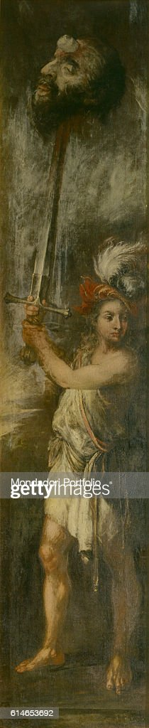 Private Collection.David holding the head of Goliath pierced by his sword.