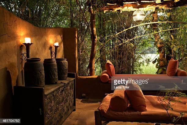 A private courtyard inside a villa at Mahua Kothi a safari lodge on the edge of Baghavahn National Park India Opened in late 2006 Mahua Kothi is a...