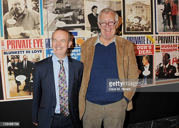 Private Eye editor Ian Hislop and cofounder Richard Ingrams attend a private viewing of 'Private Eye The First 50 Years' marking the 50th anniversary...