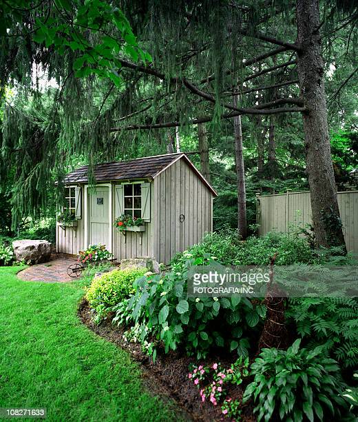 private garden - shed stock pictures, royalty-free photos & images