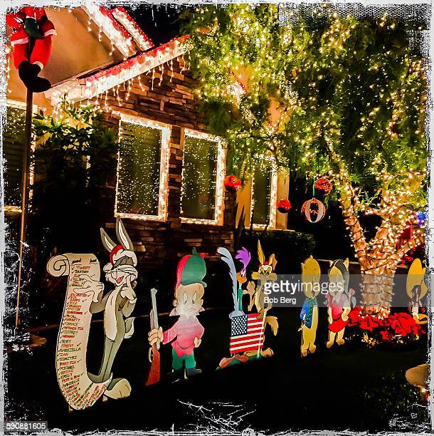 El Segundo Ca December 16 2014 A private home is transformed into a Looney Tunes themed Christmas lights display along candy cane lane in El Segundo...