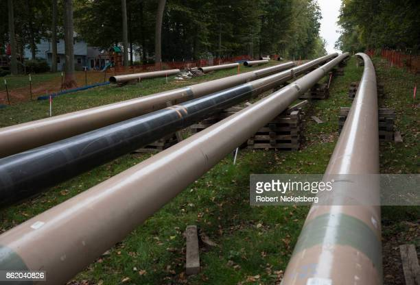 Private homes surround Sunoco's 20 inch gas liquids pipeline along a rightofway October 5 2017 in Marchwood Pennsylvania Many nearby residents are...