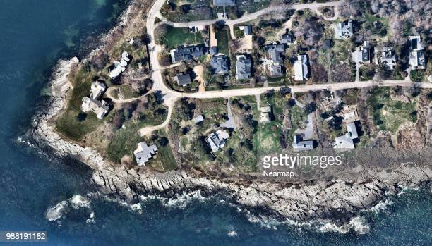 private houses beachfront in portland, maine, usa - portland maine stock photos and pictures